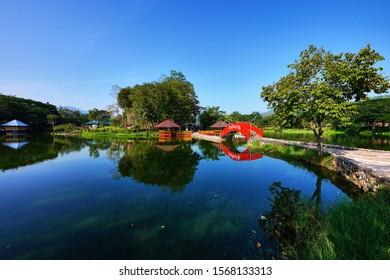 Chiang Rai, Thailand - November 12, 2019 : Namphu Ron Pa Tueng or Namphu Ron Huai Hin Fon a famous hot spring in Mae Chan District