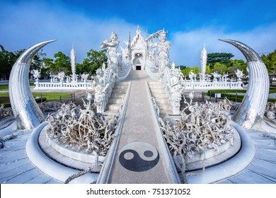 Chiang Rai, Thailand - November 21, 2016: View of the White Temple, also known as Wat Rong Khun, in Chiang Rai, Thailand.