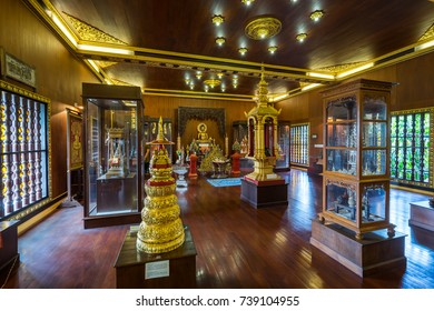 Chiang Rai, Thailand - October 22, 2017: Wat Pra Kaew or The Temple of the Emerald Buddha. In 1434 people founded the Emerald Buddha in the pagoda renovation but nobody know, when it was created.