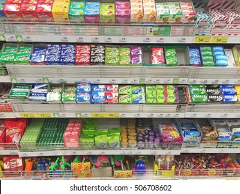 CHIANG RAI, THAILAND - OCTOBER 28 :  various brand chewing gum in packaging in supermarket stand or shelf in Big C Supercenter on October 28, 2016 in Chiang rai, Thailand.
