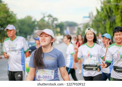 Chiang Rai THAILAND-11: 10: 2018: Project doctor invited run for health, Chiang Rai province Chiang Rai Thailand.People. Running at city. Streets.