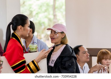 Chiang Rai ,THAILAND:2:14: 2017: THE Woman In Gown Celebrating on Campus,Mae Fah Luang University in Chiang Rai THAILAND.
