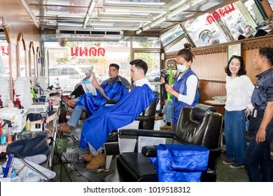 Chiang Rai THAILAND-2:6:2018: barber shop in Chiang Rai Thailand.