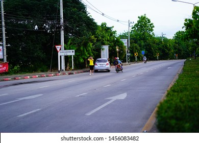 Chiang Rai THAILAND-7: 18: 2019: Uniform people riding a motorcycle collided with a rakish coupe with the police and an ambulance came to the rescue in Chiang Rai Thailand.