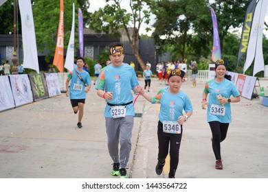 Chiang Rai THAILAND-7:7:2019: Running Umay+ Present Chiangrai 2019 21.1 IN Chiang Rai THAILAND .People. Running at city. Streets.