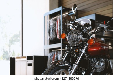 CHIANG RAI, THAILAND-DECEMBER 27, 2018, closeup honda CB1100EX in bigbike showroom with soft-focus and over light in the background