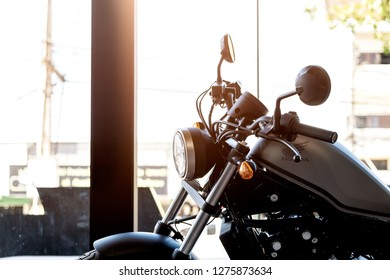 CHIANG RAI, THAILAND-DECEMBER 27, 2018, closeup honda rebel500 in bigbike showroom with soft-focus and over light in the background