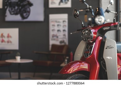 CHIANG RAI, THAILAND-DECEMBER 27, 2018, closeup honda C125 in cub house with soft-focus and over light in the background
