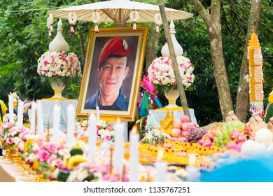 Chiang Rai, Thailand-July 16,2018 : Ceremony Making offerings or sacrifice,  with Saman Kunan, former Thai Navy SEAL, died of asphyxiation on 6 July at Tham Luang - Khun Nam Nang Non cave