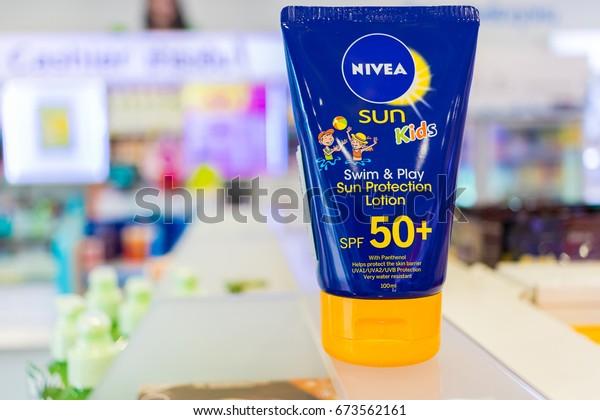 Chiang Rai ,Thailand-july 8,2017 Nivea sun lotion Protect Bronze SPF 50.