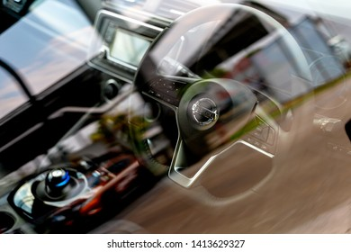 CHIANG RAI, THAILAND-MAY 04, 2019, Closeup Interior of All New Nissan Leaf EV Car Zero Emission With Soft-Focus And Over Light In The Background