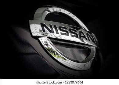 CHIANG RAI, THAILAND-NOVEMBER 2, 2018, closeup logo nissan car with soft-focus and over light in the background