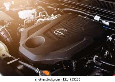 CHIANG RAI, THAILAND-OCTOBER 26, 2018, closeup detail of all new nissan terra suv car engine with soft-focus and over light in the background
