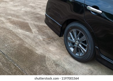 CHIANG RAI, THAILAND-SEPTEMBER 29, 2018, closeup nissan almera car wheel with soft-focus and over light in the background