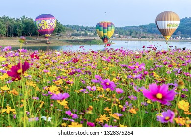 CHIANG RAI, THAILNAD - 16 FUBRUARY 2019 : Colorful hot air balloons floating above the lake with blue sky in Singha Park ,Chiang Rai, Thailand
