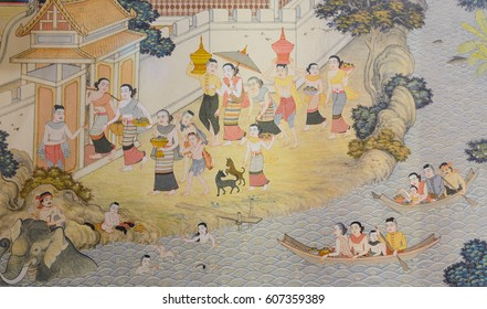 CHIANG RAI,THAILAND - DECEMBER 29, 2016 :  Thai mural painting of Lanna people life in the past on temple wall of Wat Phra Singh in Chiang Rai, Thailand