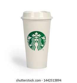 CHIANG RAI,THAILAND - JULY 3 , 2019 :Starbucks Hot Tall Coffee   Take Away Cup on white background .