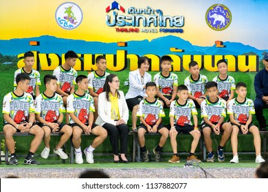 Chiang Rai,Thailand-July 18,2018 : Press conference MooPa Academy Team football 12 boys 1 coach trapped in a cave in Tham Luang-Khun Nam Nang Non cave, come back home