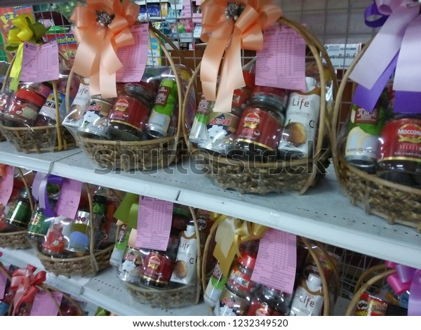 Christmas Gift Baskets 2019.Chiang Raithailandnovember 162019gift Baskets Adult Food
