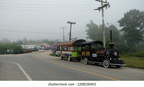 CHIANGKHAN,LOEI, THAILAND - CIRCA OCTOBER, 2018 : Ancient train for tourists to see the scenery of Chiang Khan, Loei province.Thailand