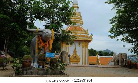 CHIANGKHAN,LOEI, THAILAND - CIRCA OCTOBER, 2018 :Silver Buffalo Statue at Wat Phra Phutthabat phu khway ngein temple in Chiang Khan, Loei Province.Thailand.Silver Buffalo is the history of this temple