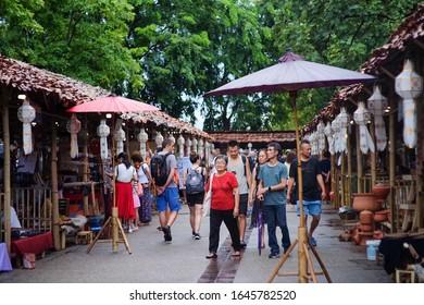 Chiangmai, TH - August 11,2019: Local Walking in Tha Pae Gate, Chiang Mai Province.