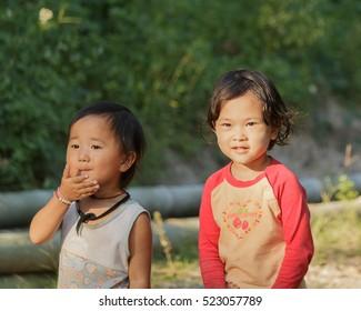 CHIANGMAI THAILAND - 16 NOVEMBER : Unidentified tribal kids were running around having fun on 17 November 2016 at Chiangmai, Thailand