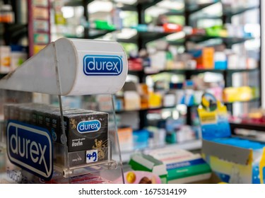 Chiangmai, Thailand - 29 August 2019: Close up of Durex condoms in phamacy, Durex is the most popular brand of condom and lubricant in Thailand.
