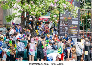 Chiangmai, Thailand - Apr 13 : Songkran festival,Tourists and Thai people enjoy splashing water on the street on Apr 13, 2017 in Chiangmai, Thailand