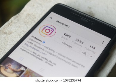 CHIANGMAI, THAILAND -APR 7,2018:Smart phone open Instagram application, Instagram is most popular photograph social networking