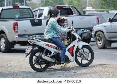 CHIANGMAI, THAILAND -APRIL 10 2016:  Private Honda Wave Motorcycle. On road no.1001, 8 km from Chiangmai city.