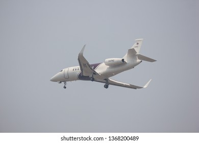 Chiangmai, Thailand - April 11 2019: 33742 Dassault Falcon 2000S of Royal Thai Police. Landing to Chiangmai airport.