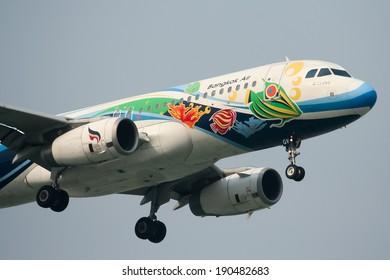 CHIANGMAI, THAILAND - APRIL 13  2010: HS-PGV Airbus A320-200 of Bangkokairway airline , landing to Chiangmai airport from Bangkok Suvarnabhumi. thailand.