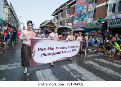CHIANGMAI, THAILAND - APRIL 13: Foreigners and Thai people enjoy splashing water together in songkran festival on April 13, 2015in Chiangmai, Thailand.