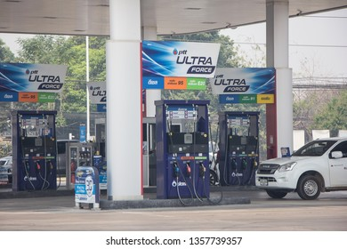 Chiangmai, Thailand - April 2 2019: PTT Oil station. Location on road no.1001 about 5 km from chiangmai city. Chiangmai, Thailand.