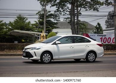 Chiangmai, Thailand - April 30 2019: Private Sedan car Toyota Vios. On road no.1001 8 km from Chiangmai Business Area.