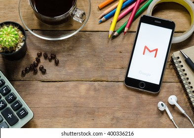 CHIANGMAI, THAILAND - APRIL 3,2016: Google mail apps showing on iphone 6s.Gmail is a free e-mail service provided by Google
