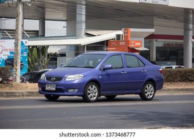 Chiangmai, Thailand - April 9 2019: Private Sedan car Toyota Vios. On road no.1001 8 km from Chiangmai Business Area.