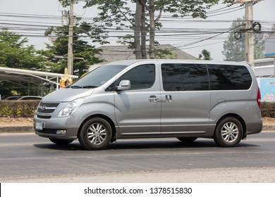 Chiangmai, Thailand - April 9 2019: Private Luxury Van from Hyundai Korea. Hyundai H1. On road no.1001, 8 km from Chiangmai city.