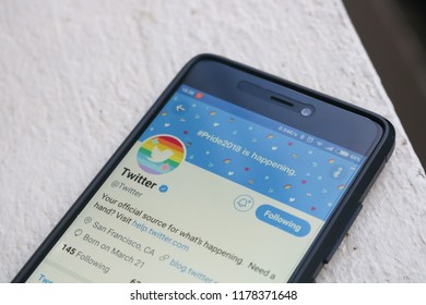 CHIANGMAI, THAILAND -AUG 1,2018:Smartphone open Twitter application,Twitter is an online social networking.