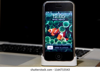 CHIANGMAI, THAILAND - AUG 27 2018: Close-up Apple iPhone First Generation.