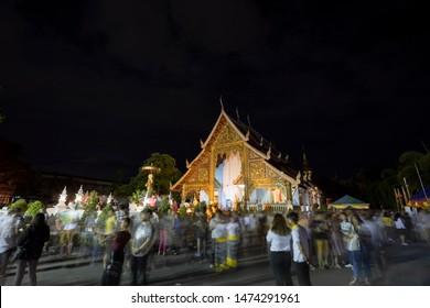 CHIANGMAI , THAILAND - AUG 6 2019: Phra Phuttha Sihing Buddha at Phra Sing Waramahavihan Temple, Thailand.