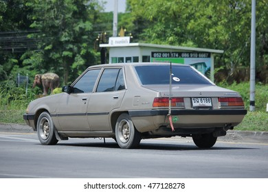 CHIANGMAI, THAILAND -AUGUST 10 2016:   Old Private car, Mitsubishi Galant.   On road no.1001, 8 km from Chiangmai Business Area.