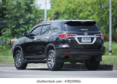 CHIANGMAI, THAILAND -AUGUST 10 2016:   Private suv car, Toyota Fortuner. On road no.1001, 8 km from Chiangmai Business Area.