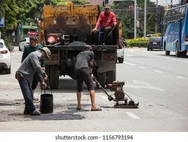 Chiangmai, Thailand - August  10 2018: Team of Road Maintenance of Chiangmai Municipality Office.