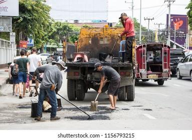 Chiangmai, Thailand - August  10 2018: Team of Road Maintenance of Chiangmai Municipality Office