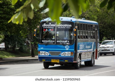 Chiangmai, Thailand - August  10 2018:  Bus route Chiangmai and hod distric, Budget fan bus. Photo on road in chiangmai city.