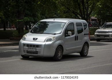Chiangmai, Thailand - August  10 2018:   Mini Van Peugeot Bipper Metro. Photo on road in chiangmai city.