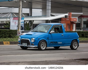 Chiangmai, Thailand - August 16 2019: Private Small city car, Daihatsu Mira. Photo at road no 121 about 8 km from downtown Chiangmai, thailand.