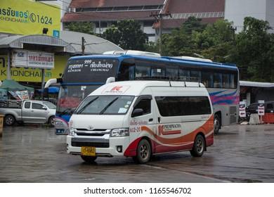 Chiangmai, Thailand - August  18 2018:  Prempracha company van. Route Mae hong son and Chiangmai. Photo at Chiangmai bus station, thailand.